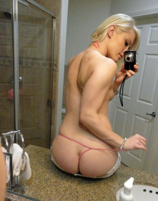 Sexy blonde teen in little panties..